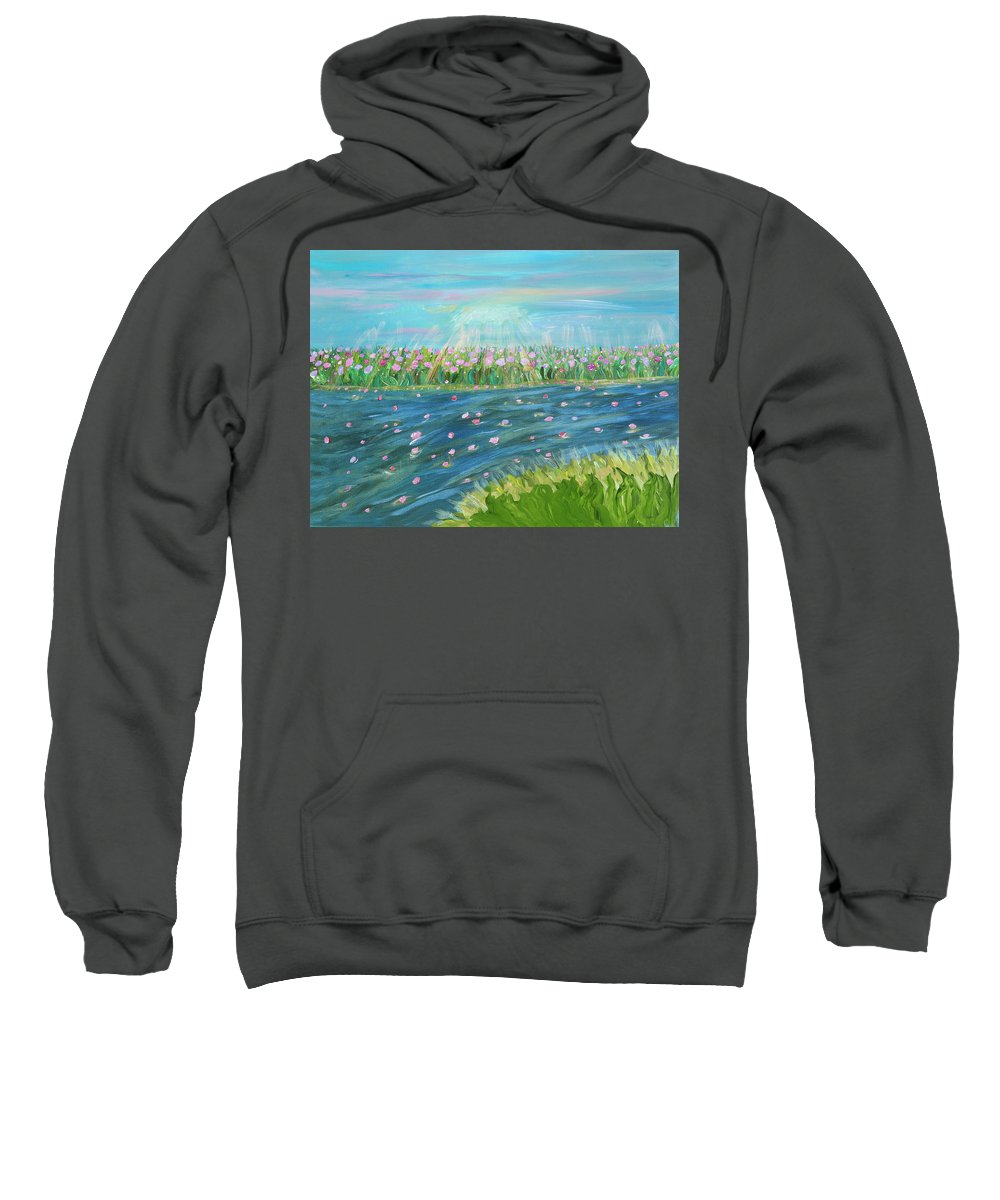 Landscape Sweatshirt featuring the painting Rain And Shine by Sara Credito