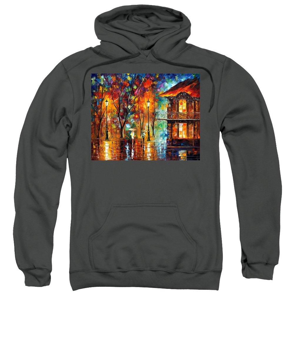 Afremov Sweatshirt featuring the painting Rain Energy by Leonid Afremov