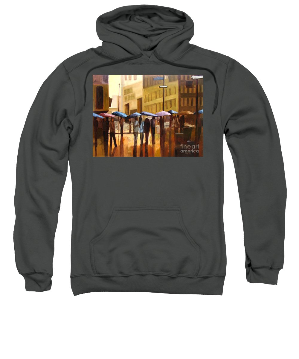 Cityscape Sweatshirt featuring the painting Rain In Manhattan Number Seventeen by Tate Hamilton