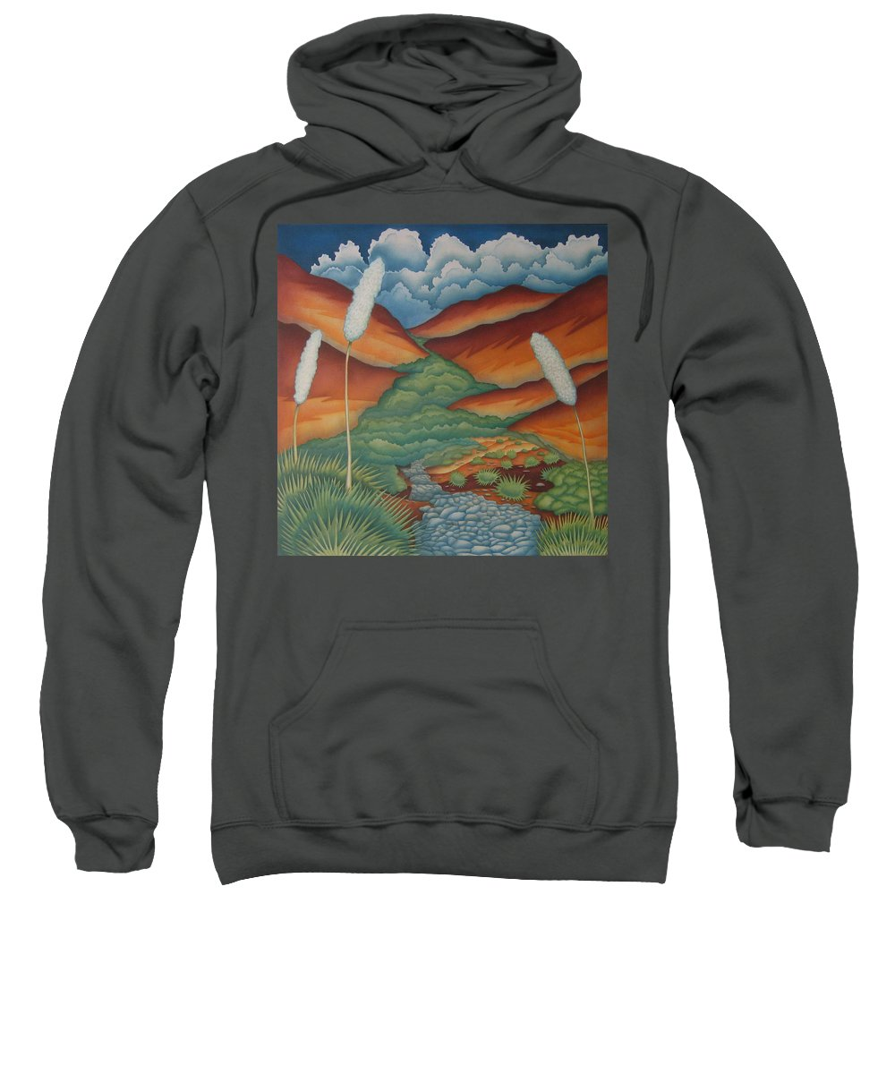 Landscape Sweatshirt featuring the painting Rain Trail by Jeniffer Stapher-Thomas