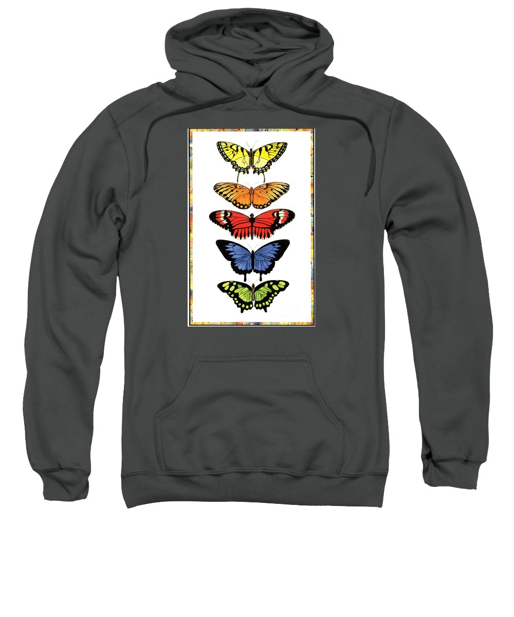 Butterflies Sweatshirt featuring the painting Rainbow Butterflies by Lucy Arnold