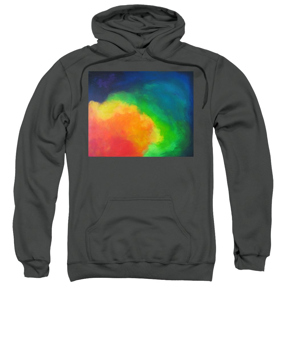 Rainbow Sweatshirt featuring the painting Rainbow Clouds by Melody Horton Karandjeff