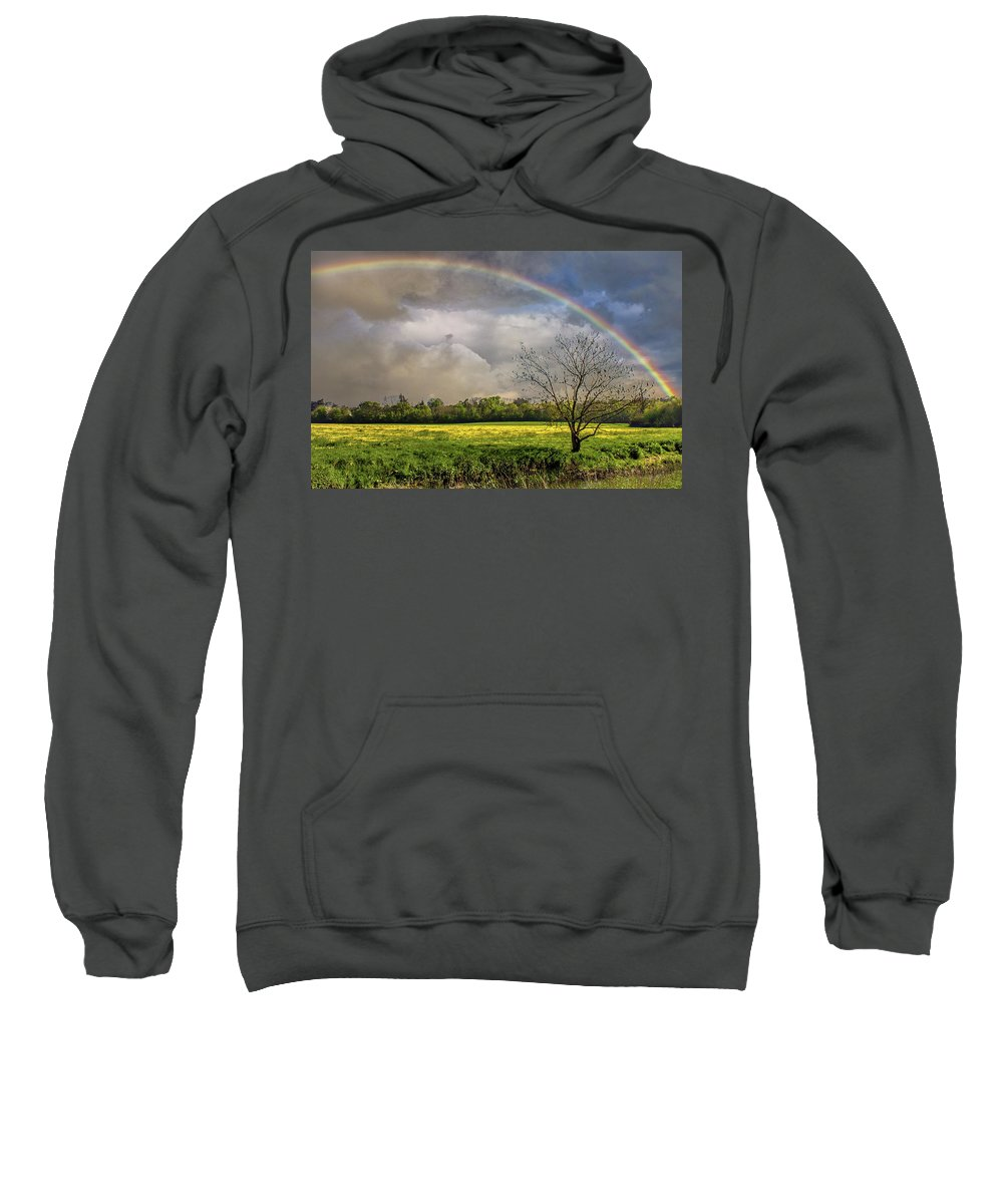 Bright Sweatshirt featuring the photograph Rainbow Field by Martin Newman