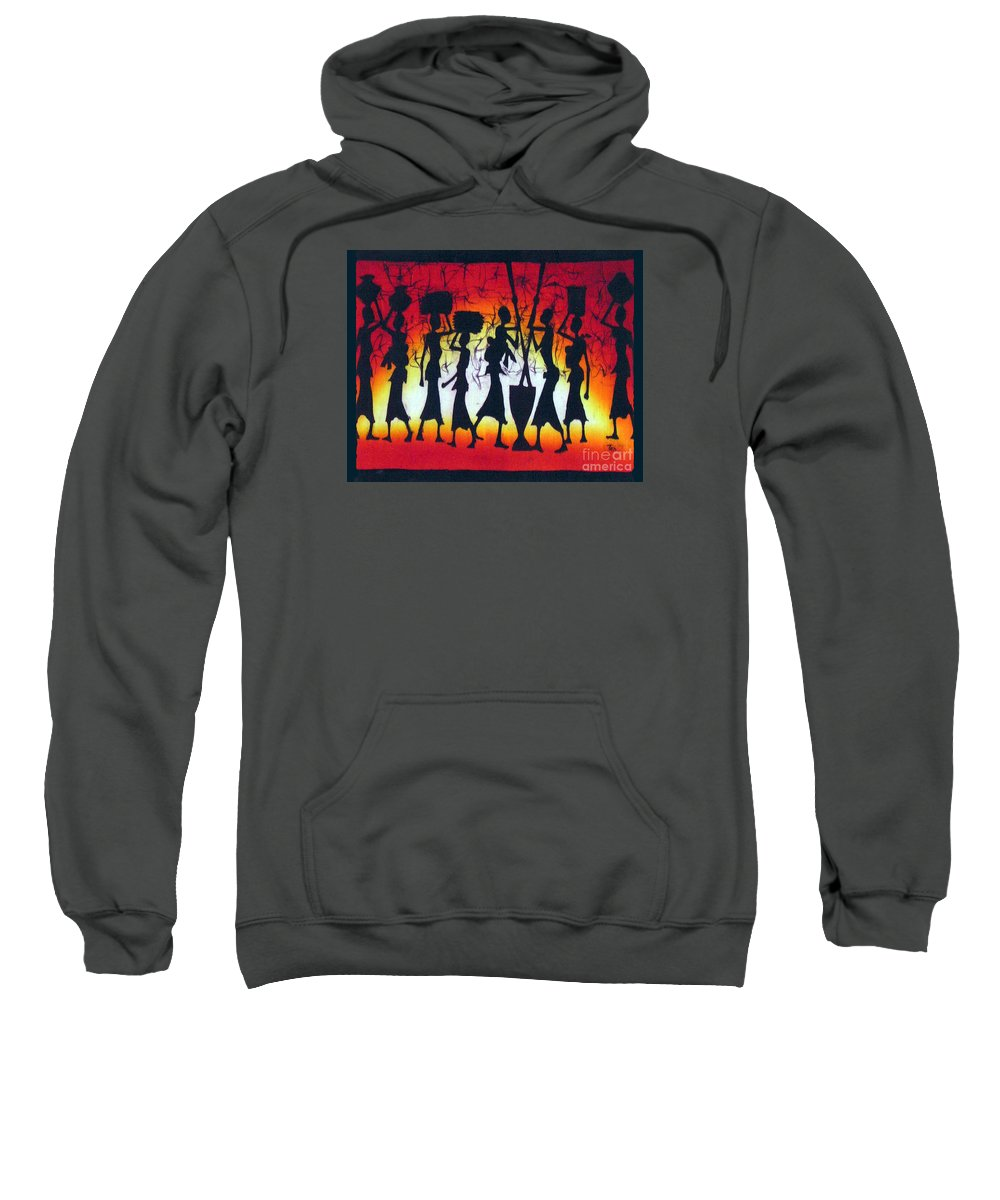 African Sweatshirt featuring the painting Rainbow Sunset by Ted Samuel Mkoweka