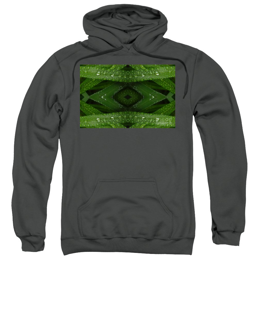 Nature Sweatshirt featuring the digital art Raindrops On Green Leaves Collage by Carol Groenen