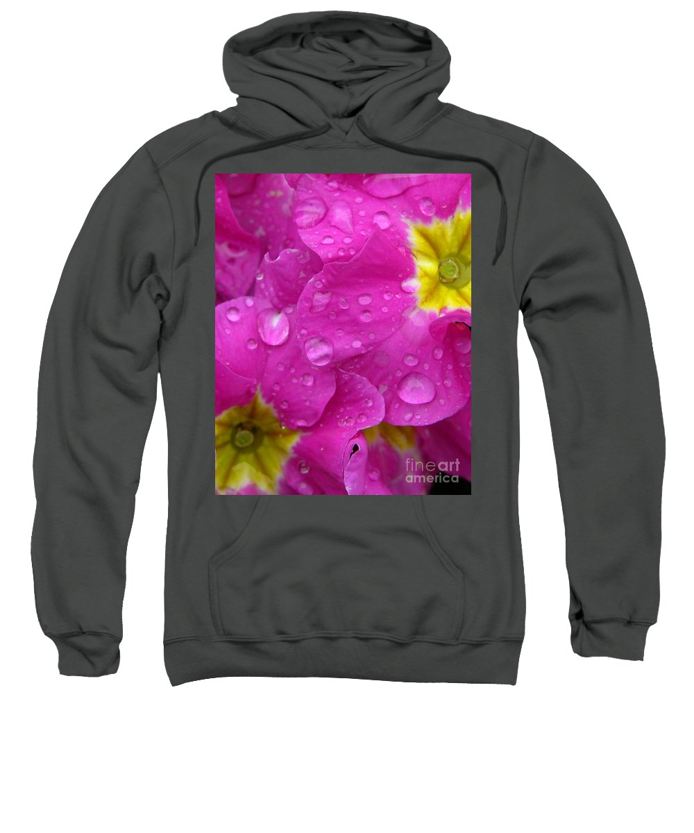 Pink Sweatshirt featuring the photograph Raindrops On Pink Flowers by Carol Groenen