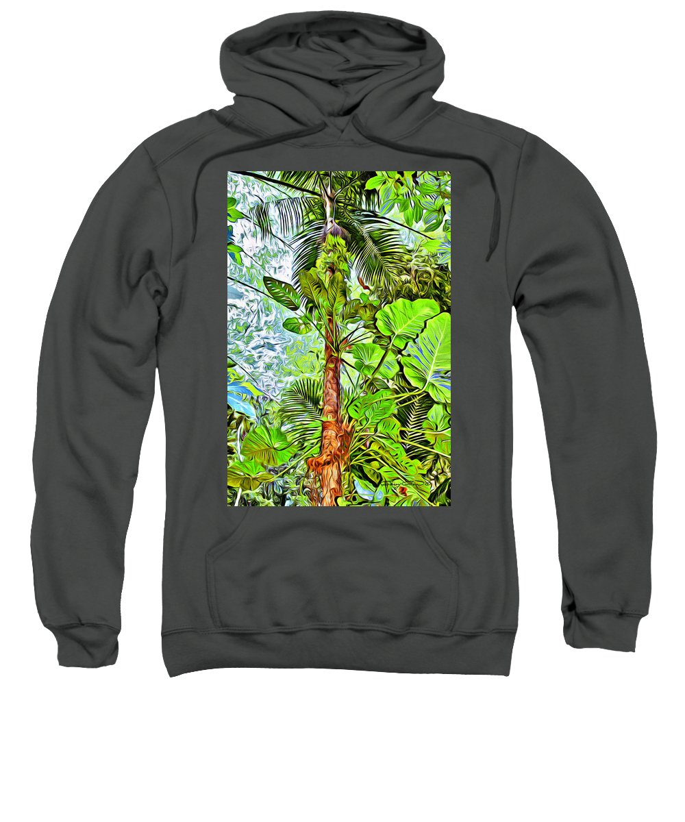 Tobago Sweatshirt featuring the digital art Rainforest Green by Anthony C Chen