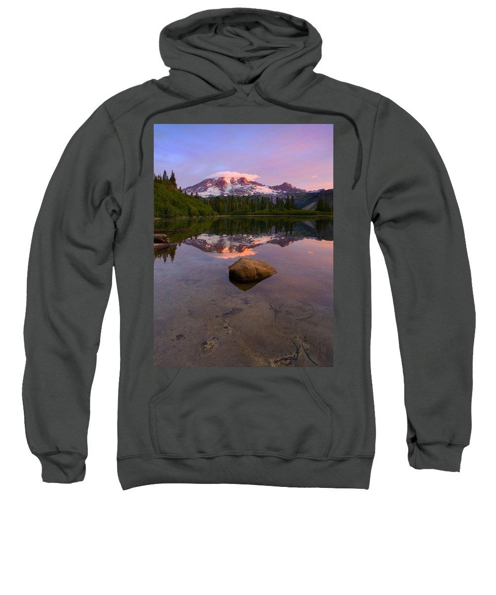 Mt. Rainier Sweatshirt featuring the photograph Rainier Dawn Breaking by Mike Dawson