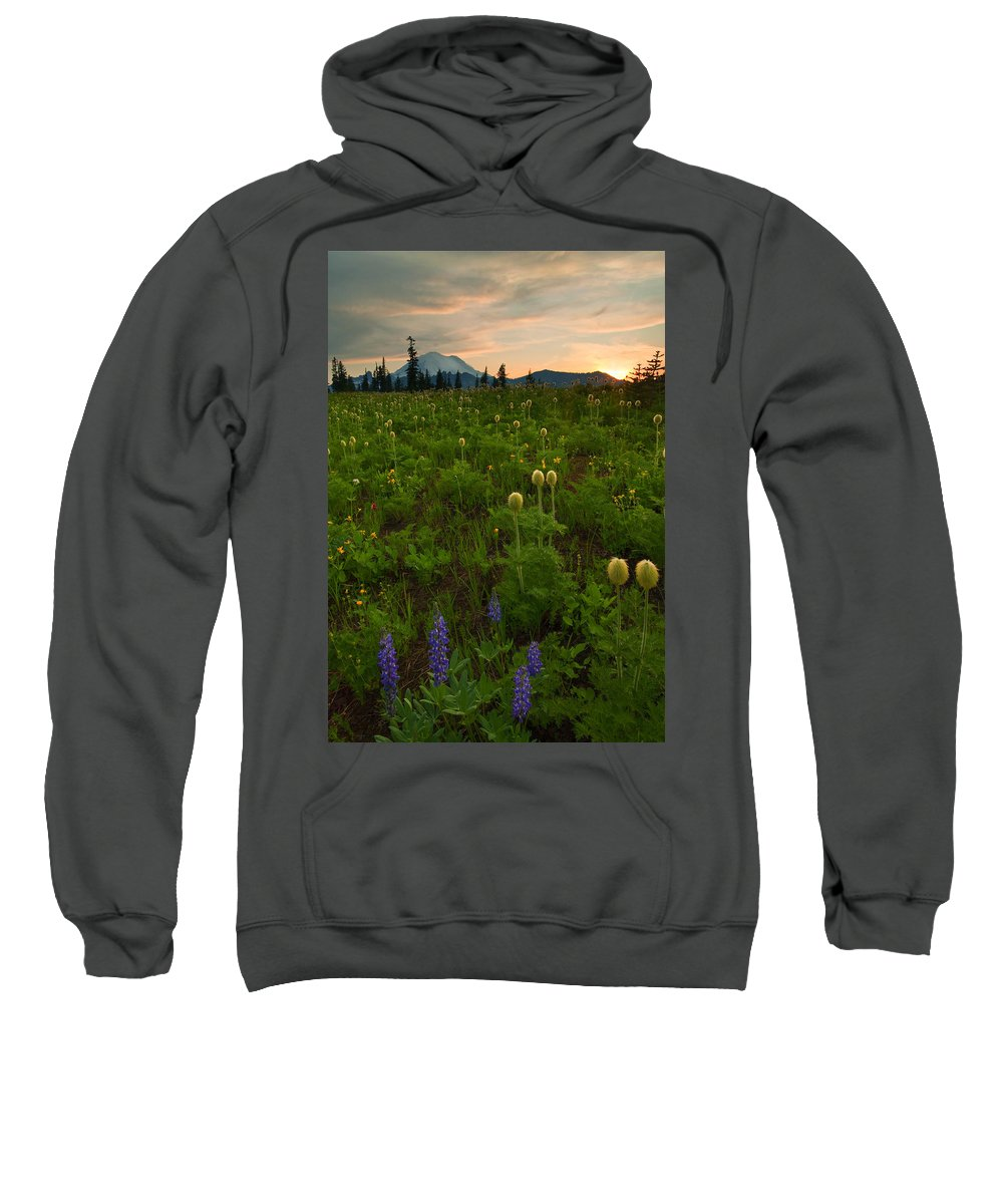Meadow Sweatshirt featuring the photograph Rainier Wildflower Light by Mike Dawson