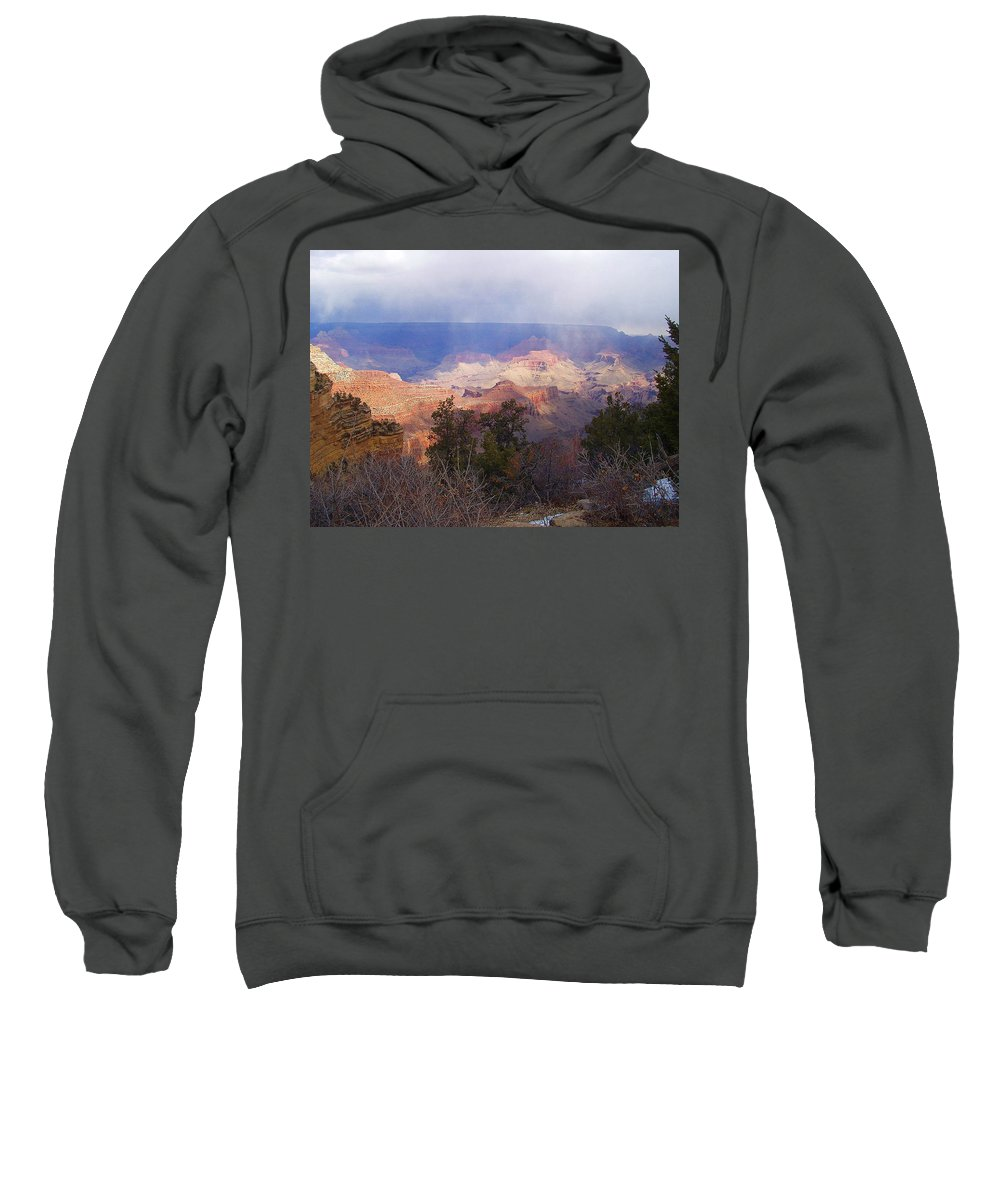 Grand Canyon Sweatshirt featuring the photograph Raining In The Canyon by Marna Edwards Flavell