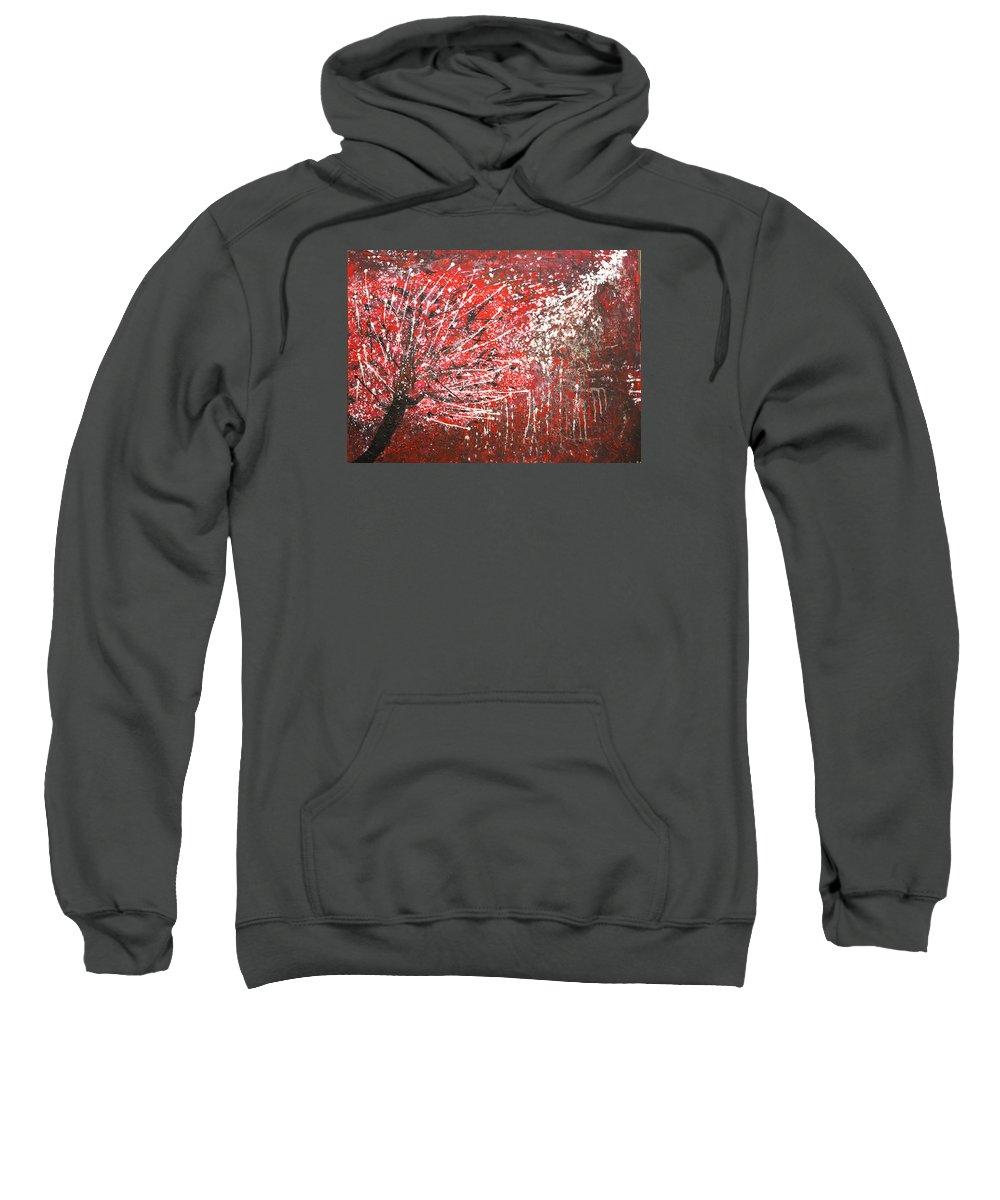 Acrylic Abstract Red Tree Stars Rain Sweatshirt featuring the painting Raining Stars by Gabriela Montemayor