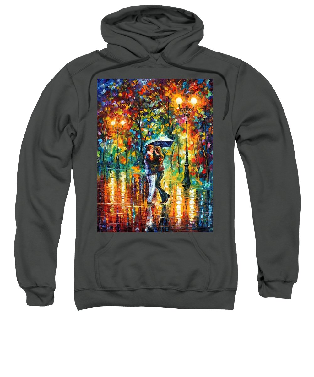 Afremov Sweatshirt featuring the painting Rainy Dance by Leonid Afremov