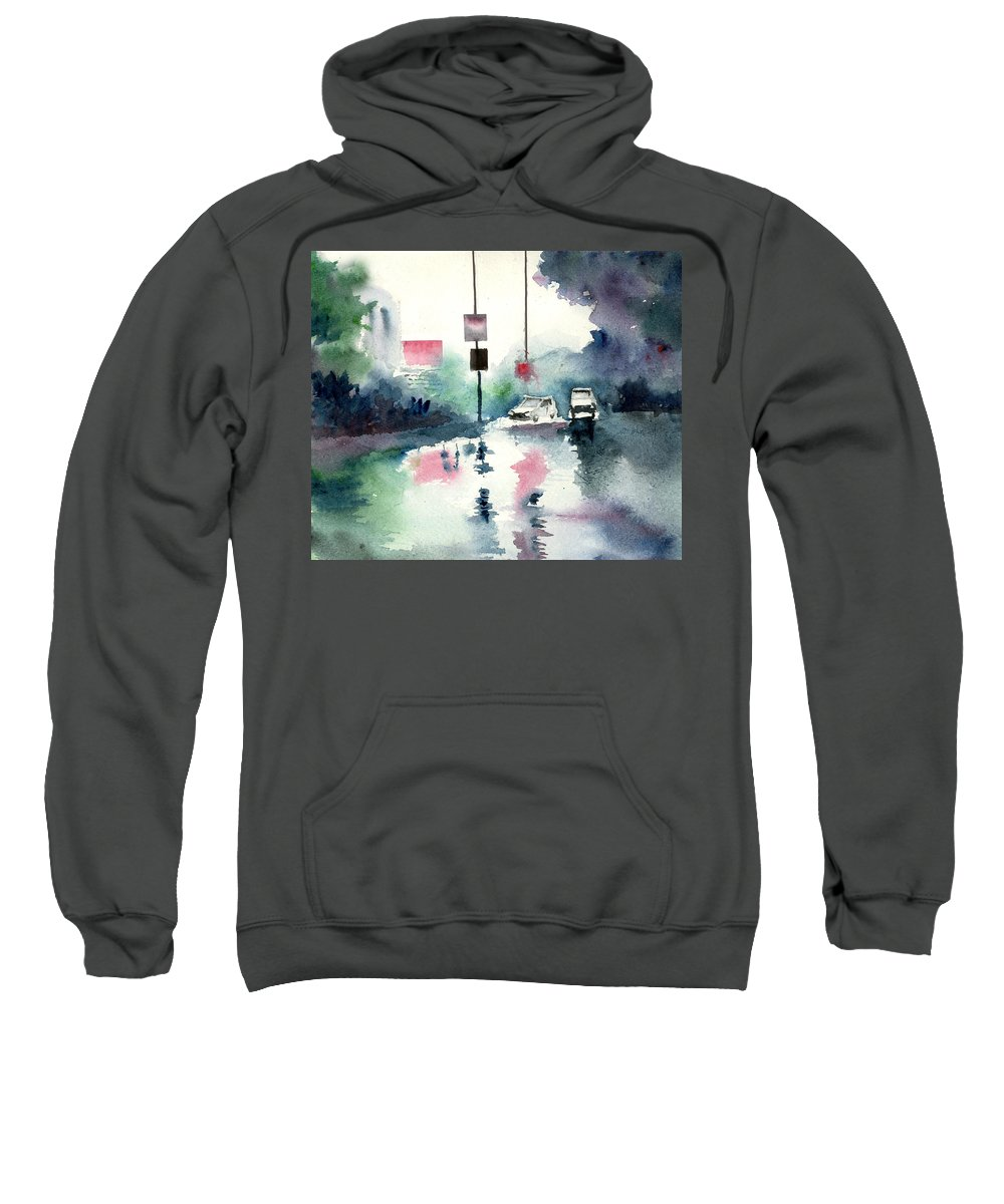 Nature Sweatshirt featuring the painting Rainy Day by Anil Nene