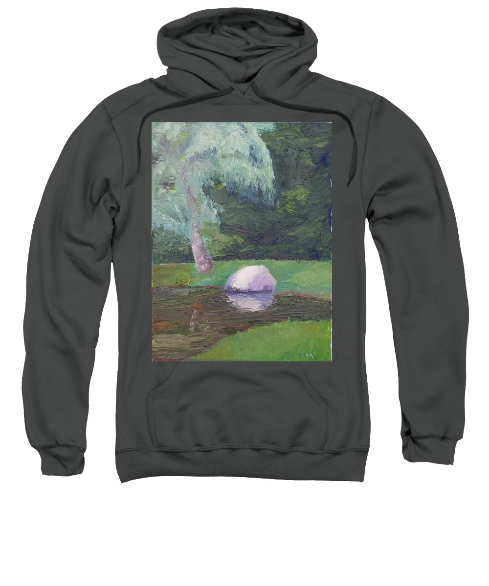 Landscape Painting Sweatshirt featuring the painting Rainy Day by Lea Novak