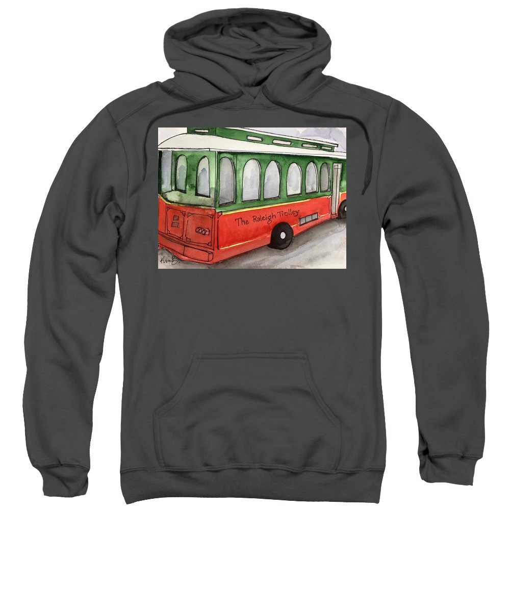 Raleigh Sweatshirt featuring the painting Raleigh Trolley by Kimberly Balentine