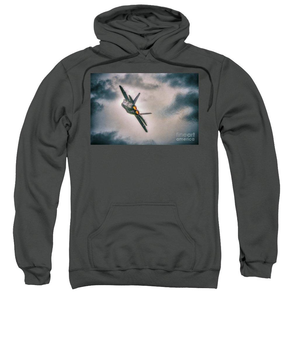 F 22 Raptor Sweatshirt featuring the digital art Raptor Afterburners by Nigel Bangert