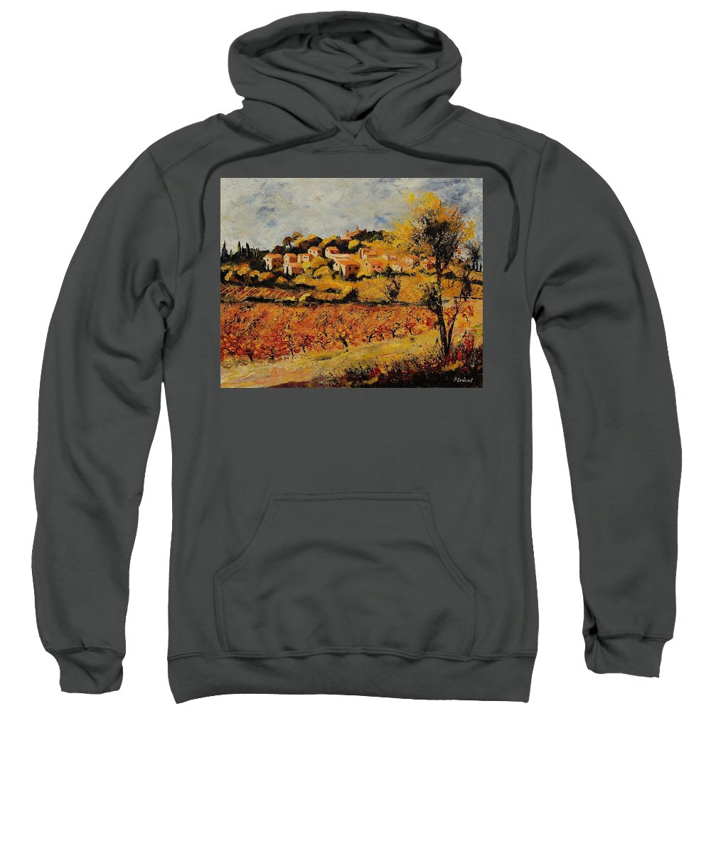 Provence Sweatshirt featuring the painting Rasteau Vaucluse by Pol Ledent