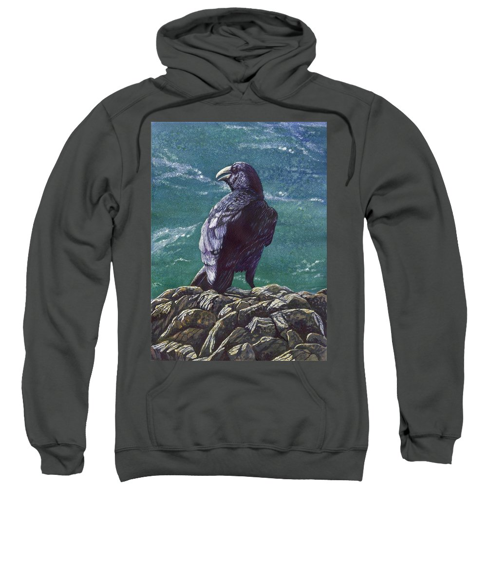 Bird Sweatshirt featuring the painting Raven by Catherine G McElroy