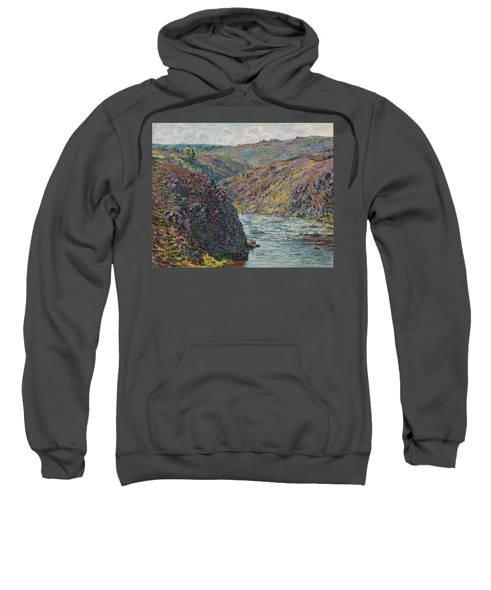 Sea Sweatshirt featuring the painting Ravines Of The Creuse At The End Of The Day by Claude Monet