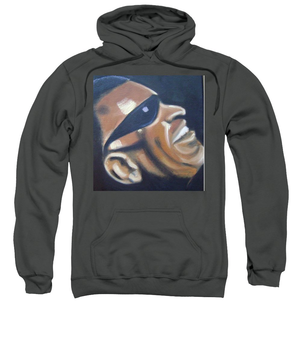 Ray Charles Sweatshirt featuring the painting Ray Charles by Toni Berry
