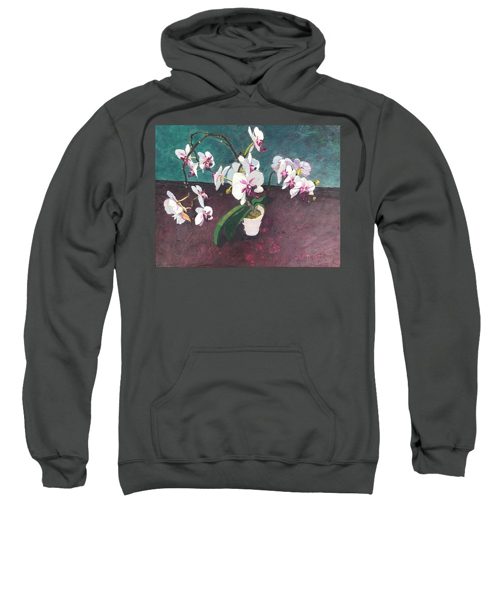 Recycled Sweatshirt featuring the mixed media Reaching by Leah Tomaino