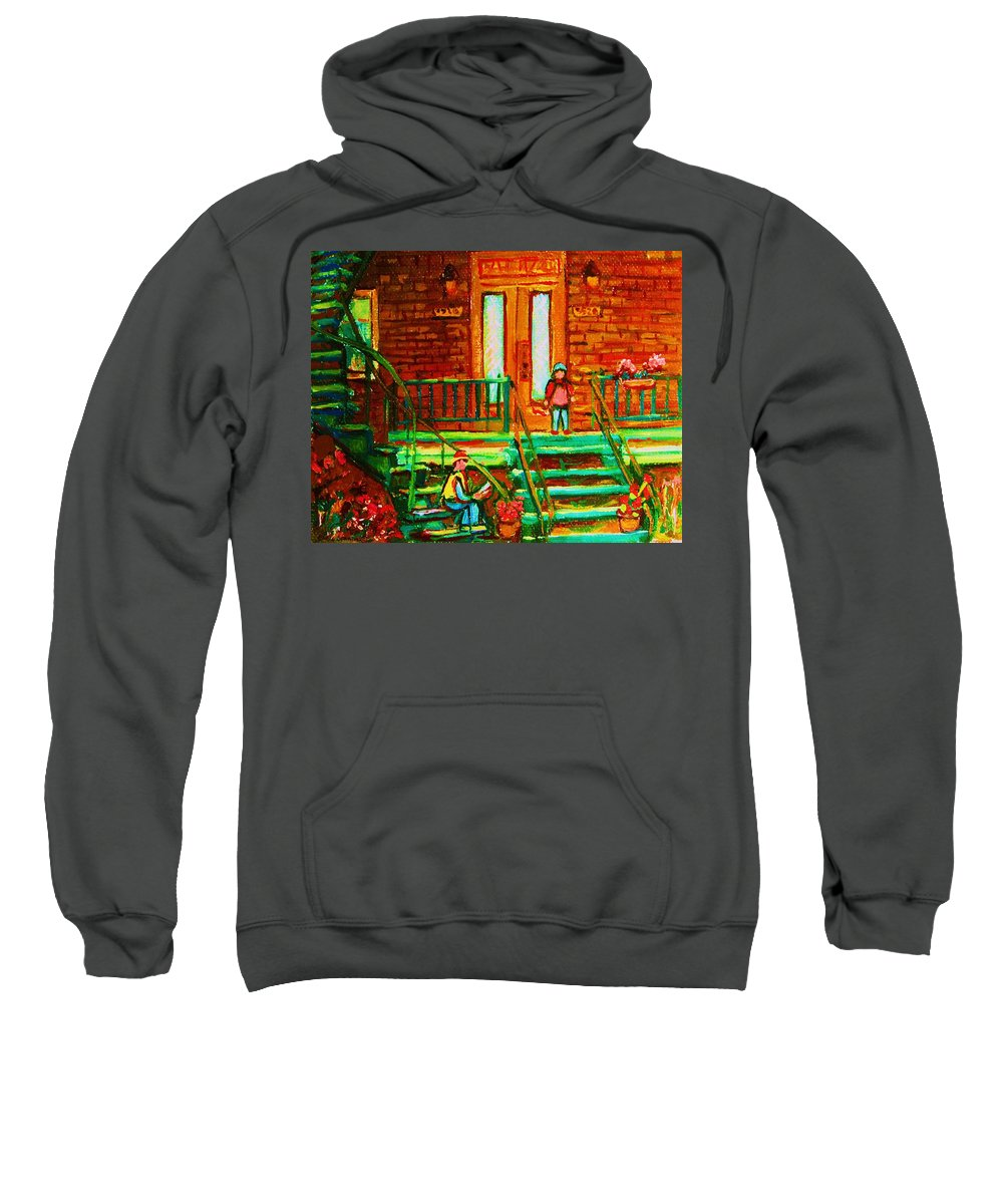 Stairways Sweatshirt featuring the painting Reading On The Steps by Carole Spandau