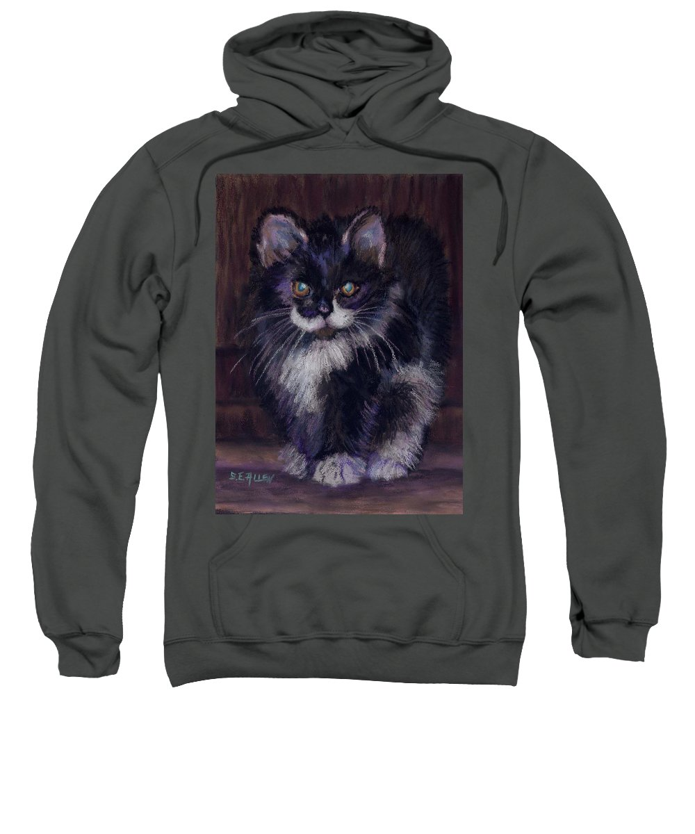 Kitten Sweatshirt featuring the painting Ready For Trouble by Sharon E Allen