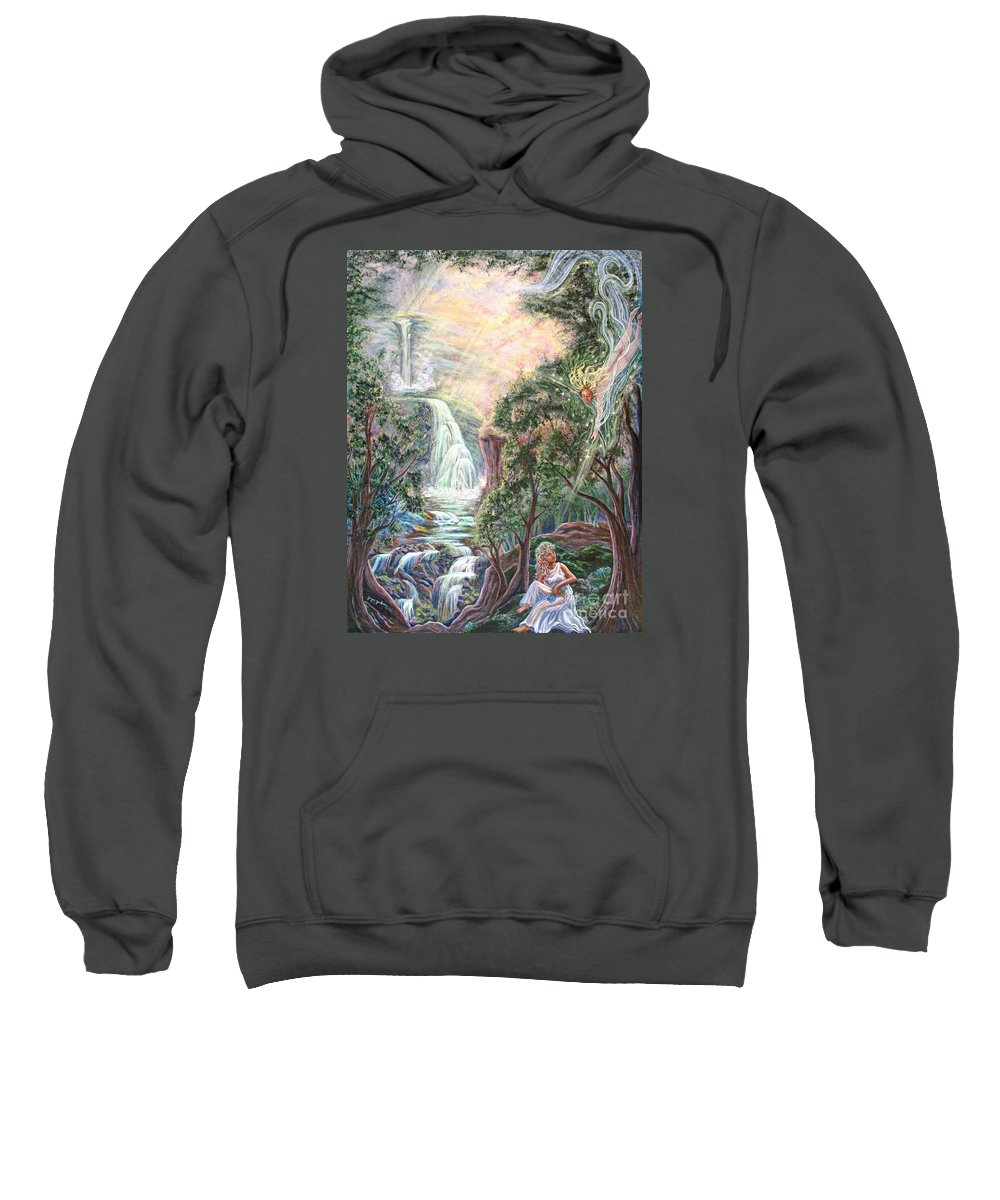 Spiritual Sweatshirt featuring the painting Ready To Fly by Joyce Jackson