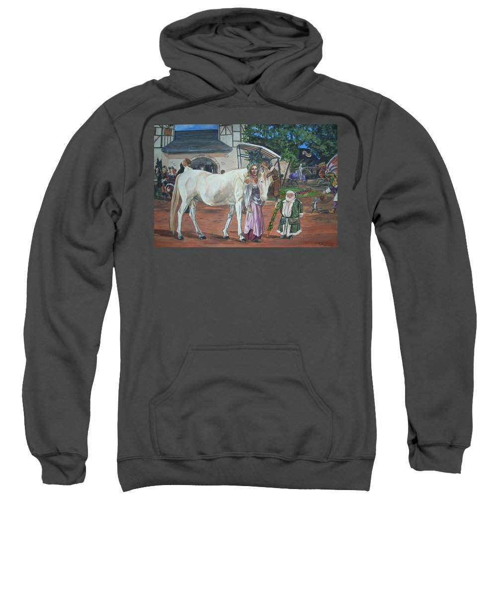 Renaissance Sweatshirt featuring the painting Real Life In Her Dreams by Bryan Bustard