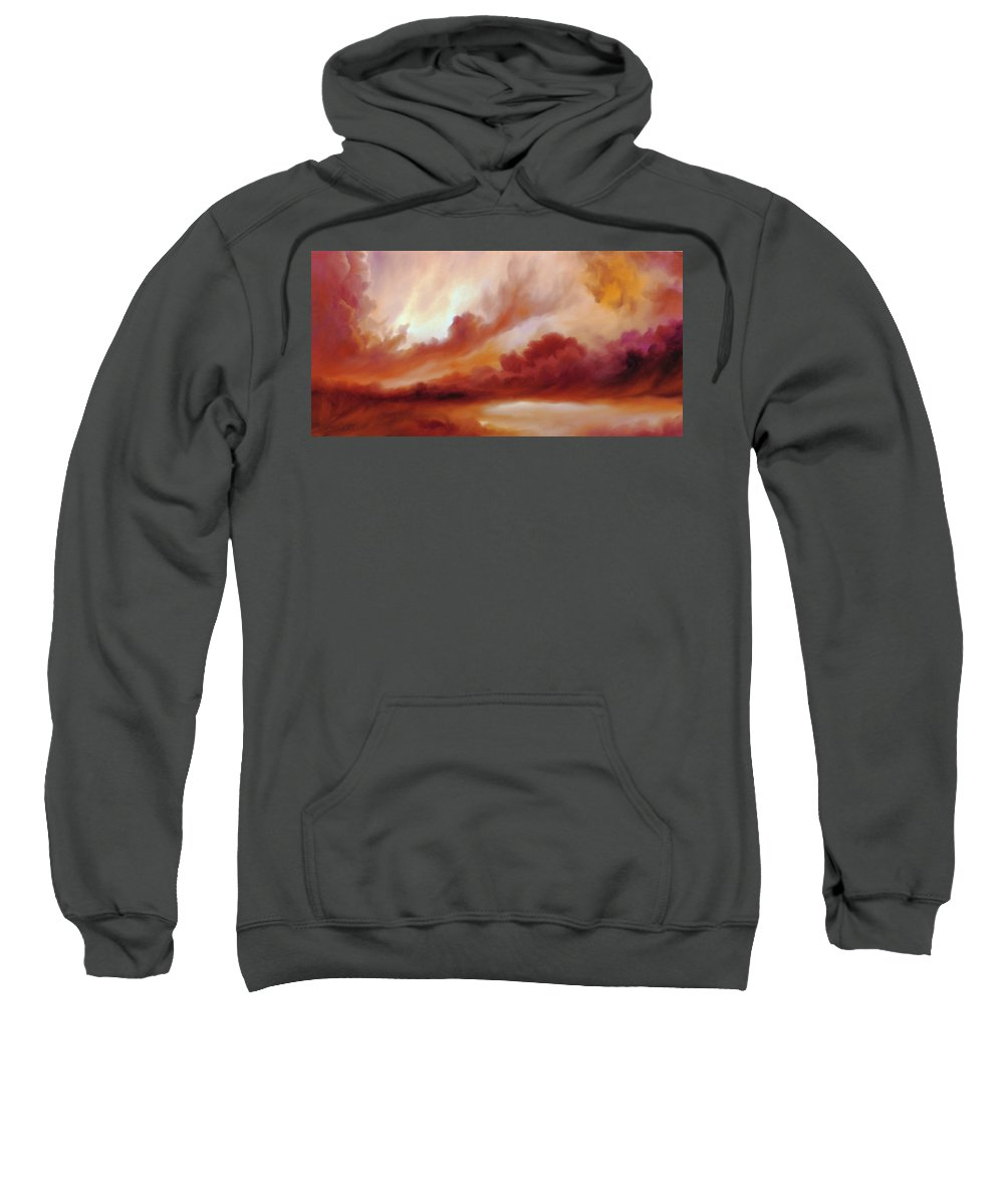 Skyscape Sweatshirt featuring the painting Receding Storm Sketch IIi by James Christopher Hill