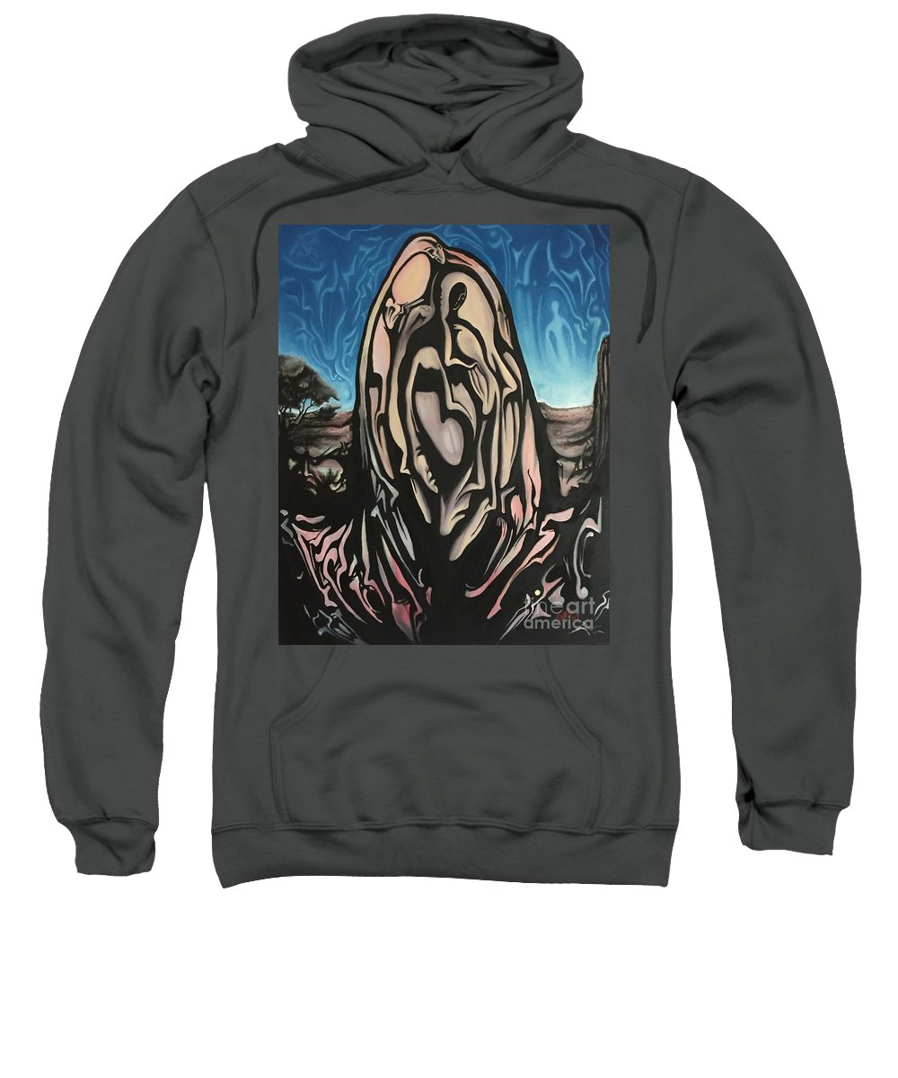 Tmad Sweatshirt featuring the painting Recluse by Michael TMAD Finney