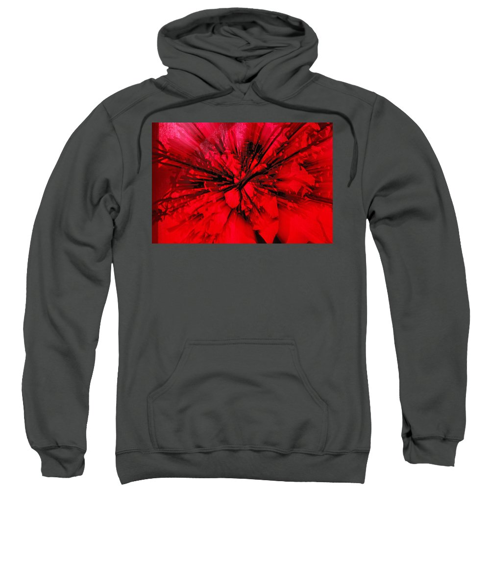 Abstract Sweatshirt featuring the photograph Red And Black Explosion by Susan Capuano