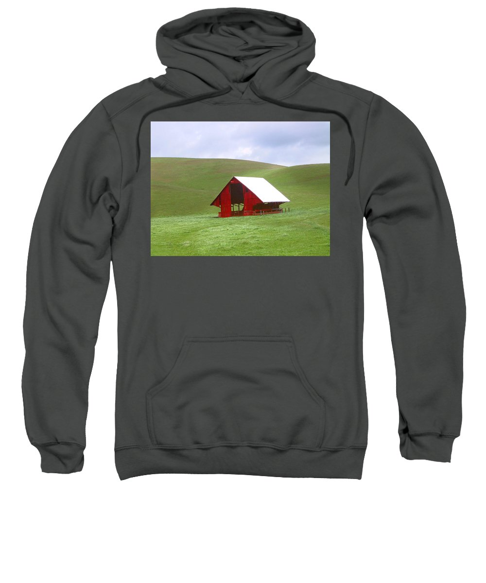 Landscape Sweatshirt featuring the photograph Red Barn In Spring by Karen W Meyer