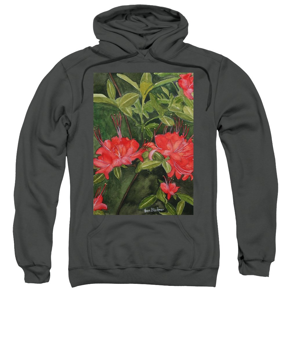 Flowers Sweatshirt featuring the painting Red Blooms On The Parkway by Jean Blackmer