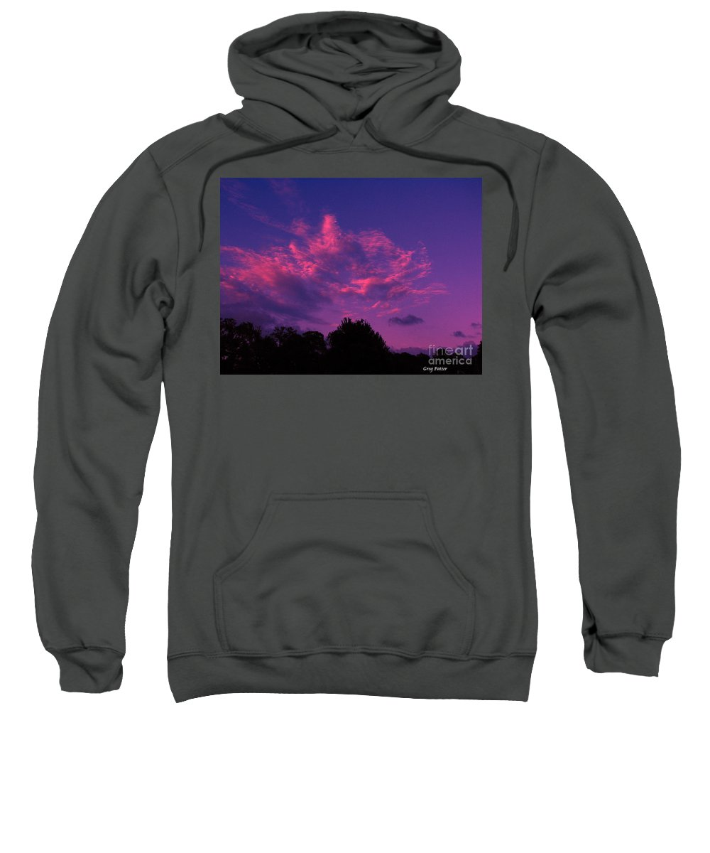 Night Scape Sweatshirt featuring the photograph Red Blue Sky by Greg Patzer