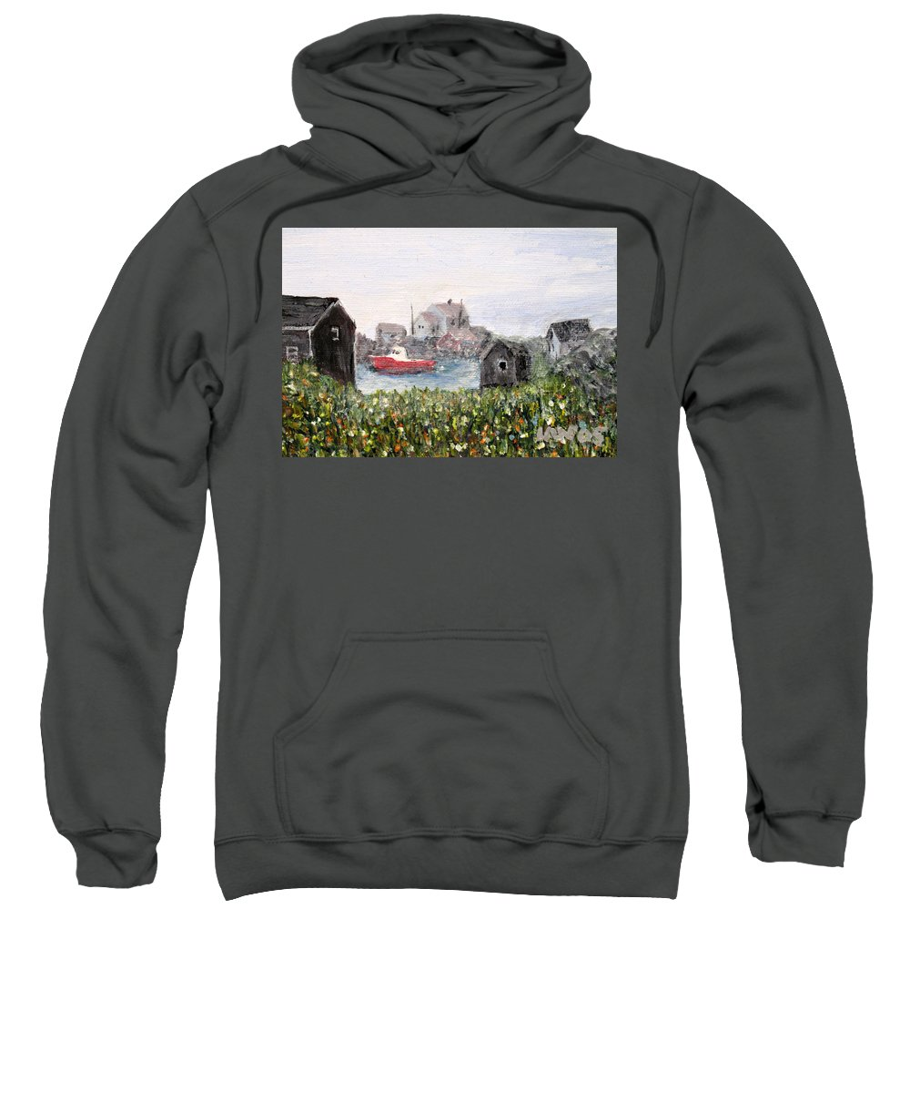 Red Boat Sweatshirt featuring the painting Red Boat in Peggys Cove Nova Scotia by Ian MacDonald