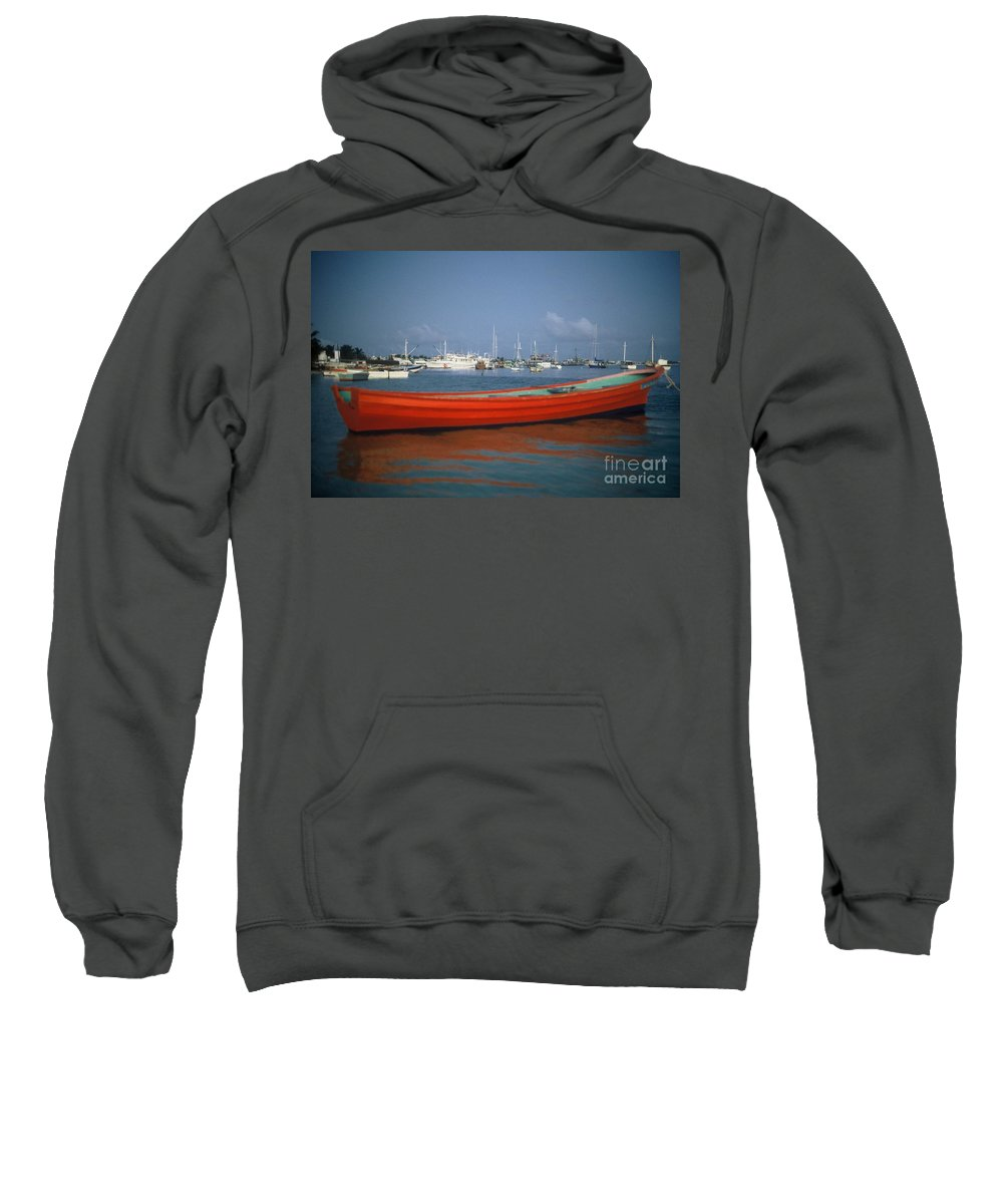 Red Sweatshirt featuring the photograph Red Boat Mexico by David J Warrington