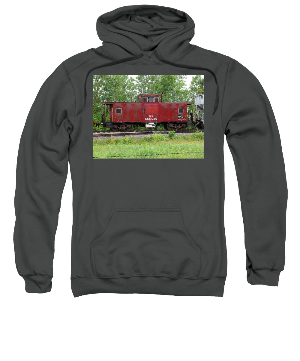 Train Sweatshirt featuring the photograph Red Caboose In The Rain by J R Seymour