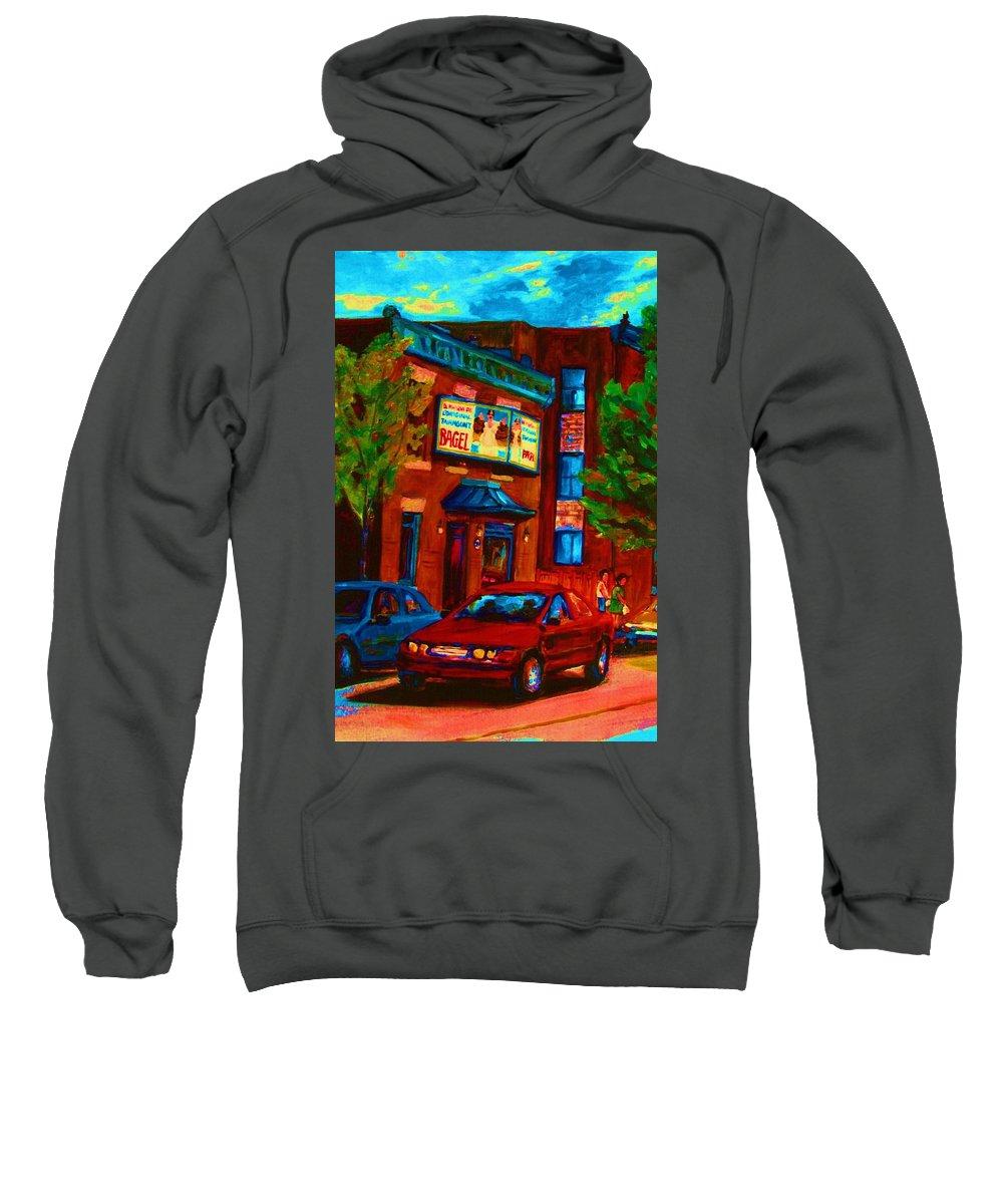 Fairmount Bagel Sweatshirt featuring the painting Red Car Blue Sky by Carole Spandau