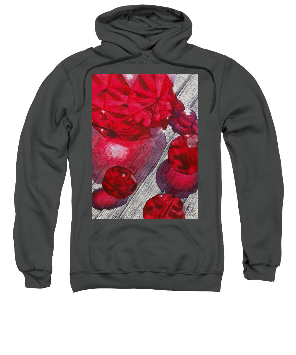 Red Sweatshirt featuring the painting Red by Catherine G McElroy