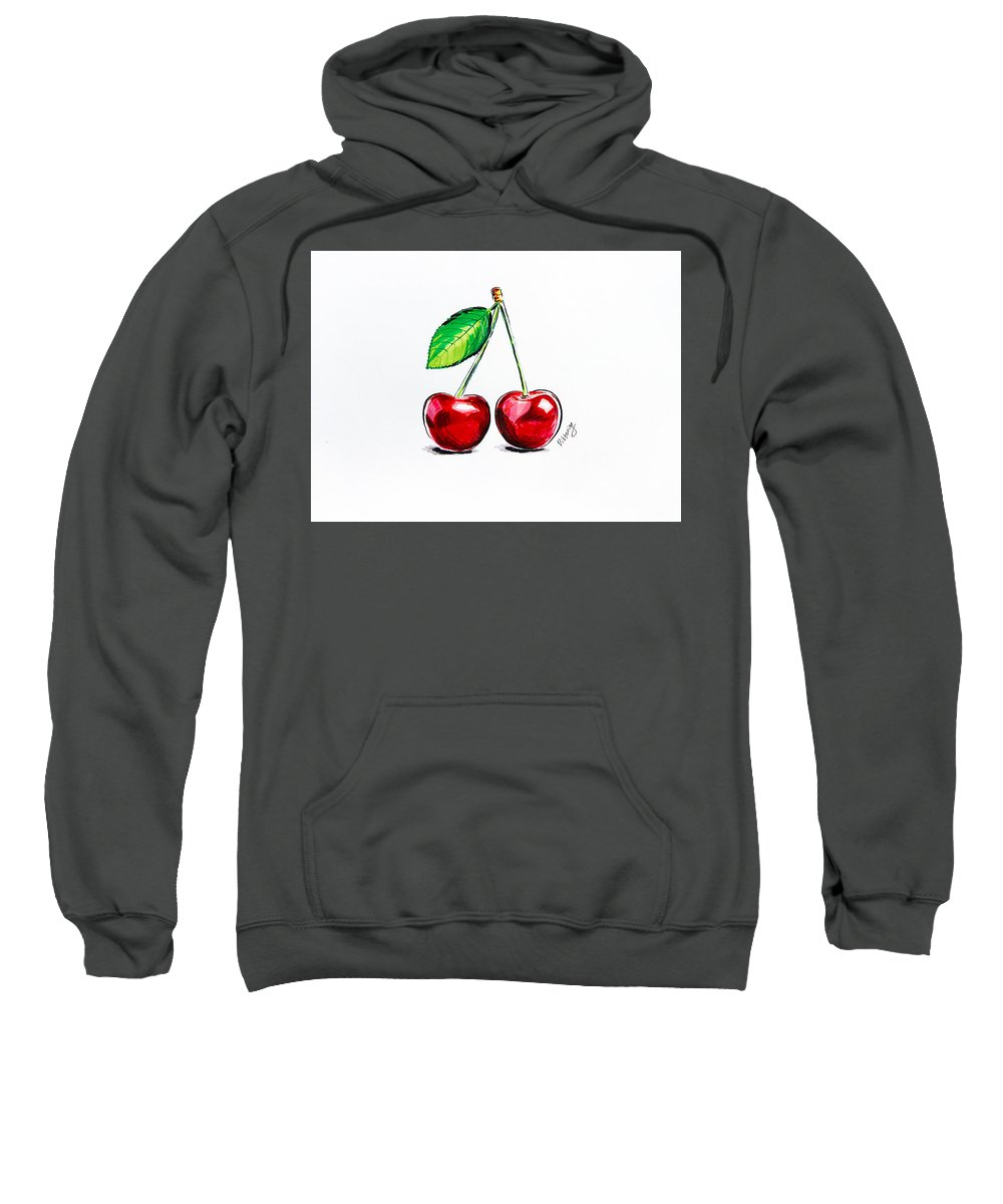 Cherry Sweatshirt featuring the painting Red Cherry by Viktoryia Lavtsevich