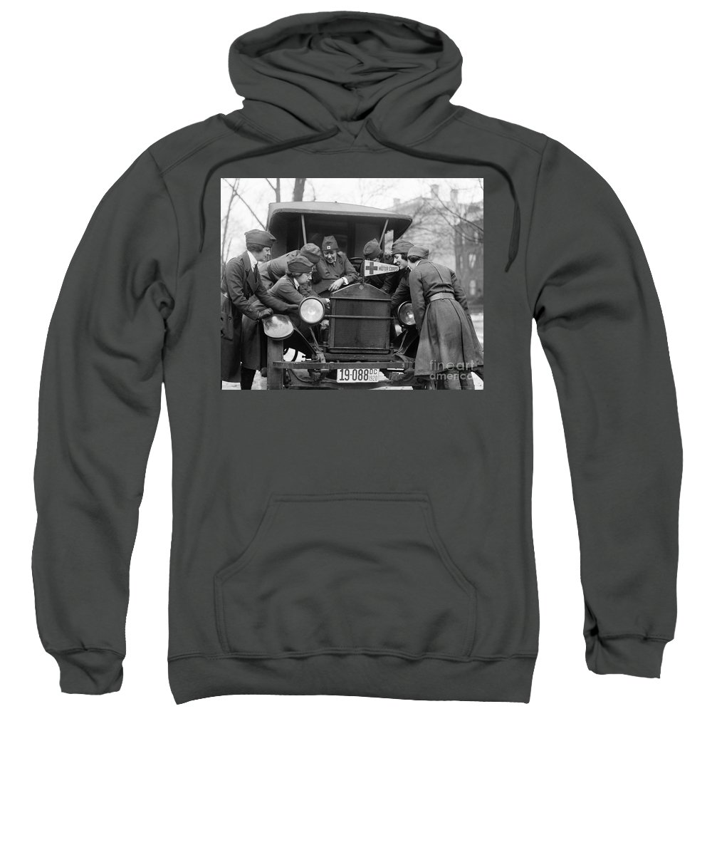 1920 Sweatshirt featuring the photograph Red Cross, C1920 by Granger