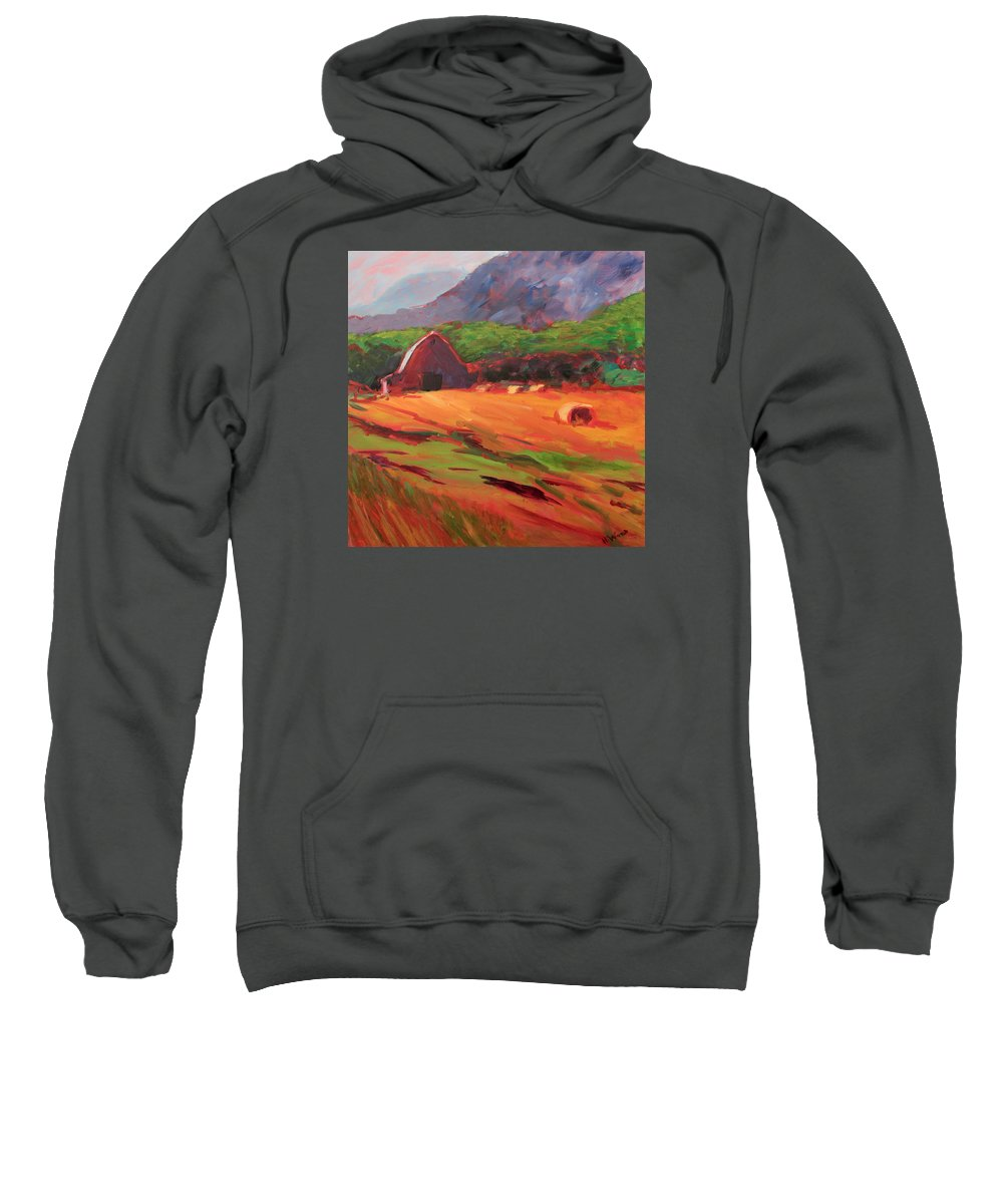 Impressionist Landscape On Red Canvas Sweatshirt featuring the painting Red Farm by Heidi Vee Wood
