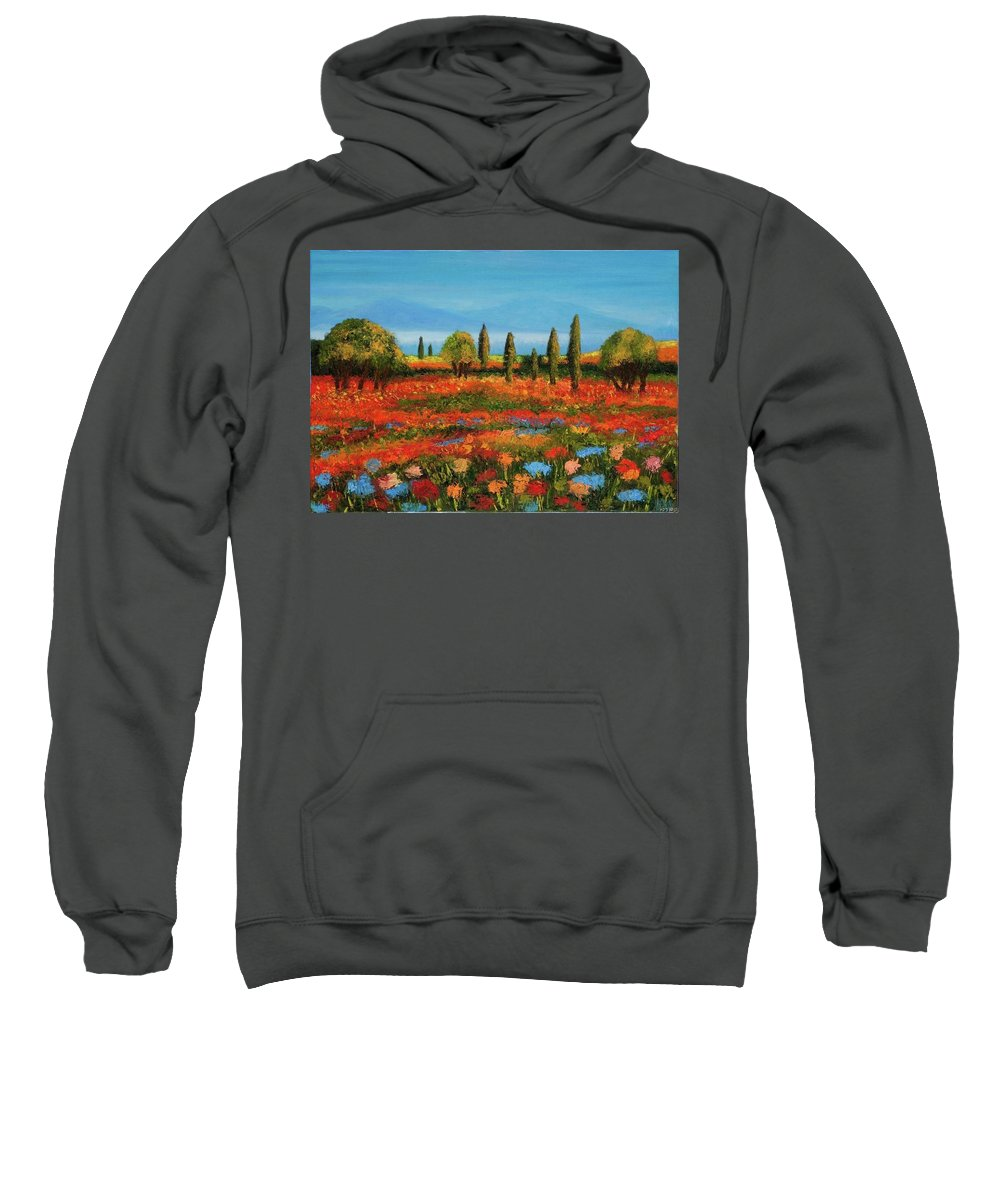 Landscape Sweatshirt featuring the painting Red Field by Nissan Rabin