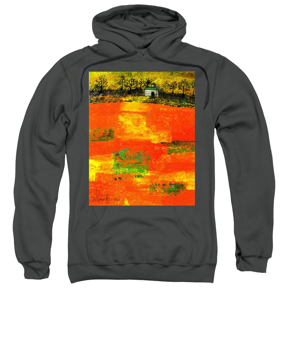 Rural Sweatshirt featuring the painting Red Fields by Wayne Potrafka