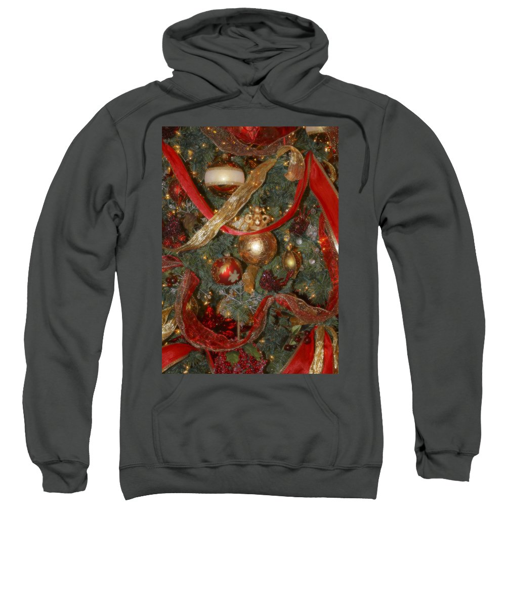 Christmas Sweatshirt featuring the photograph Red Gold Tree No 2 Fashions For Evergreens Event Hotel Roanoke 2009 by Teresa Mucha