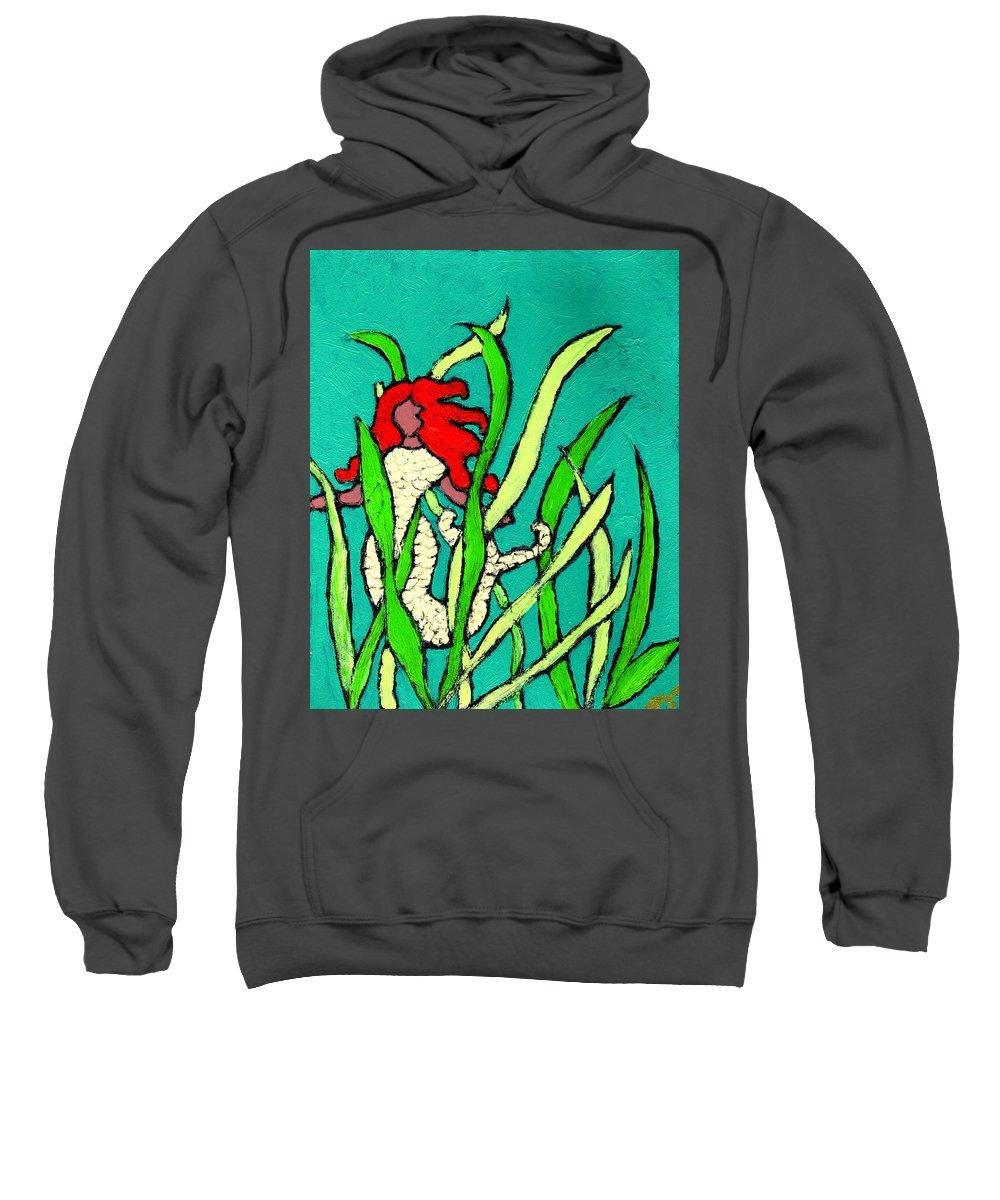 Mermaid Sweatshirt featuring the painting Red Head Mermaid by Wayne Potrafka
