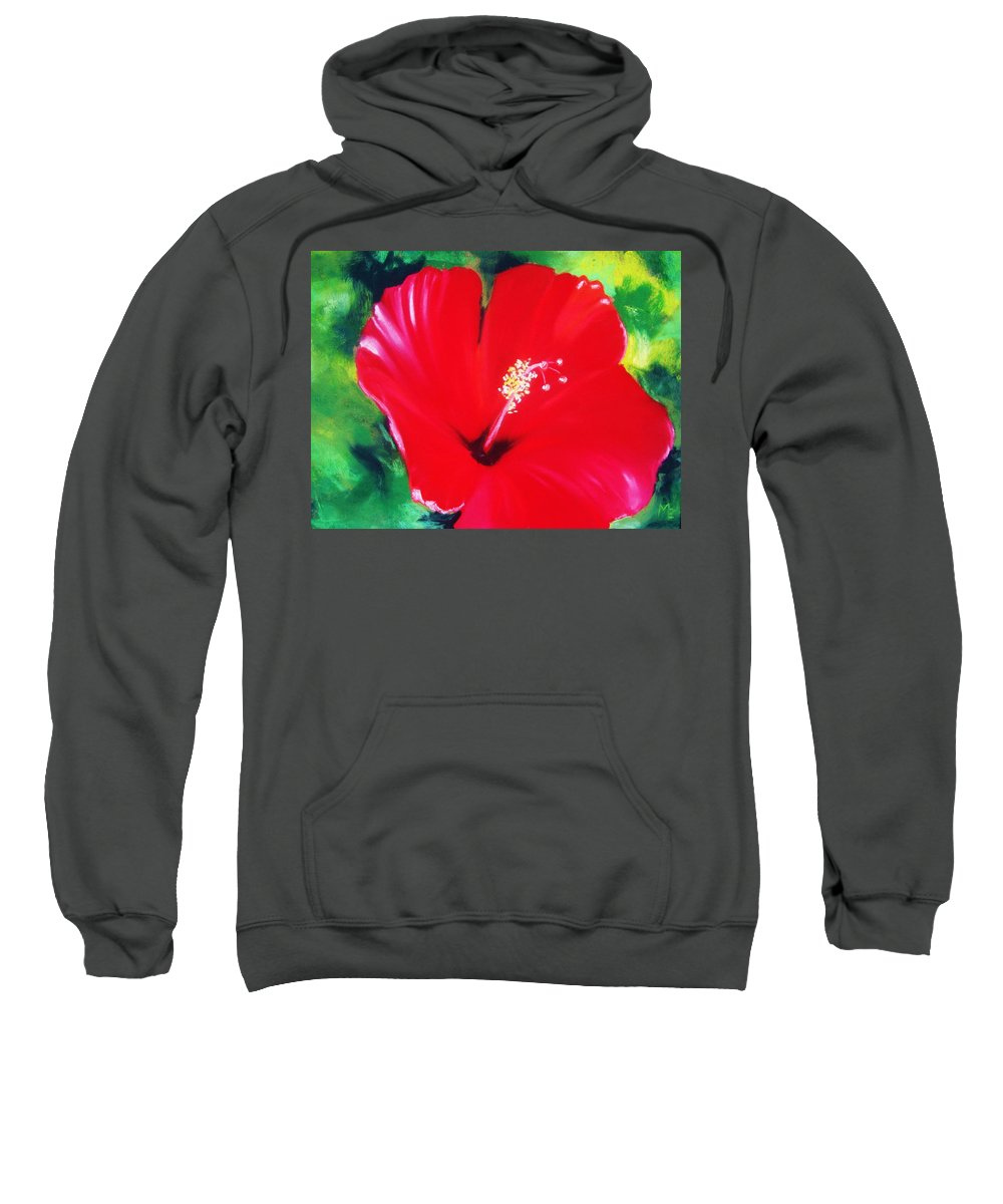 Bright Flower Sweatshirt featuring the painting Red Hibiscus by Melinda Etzold