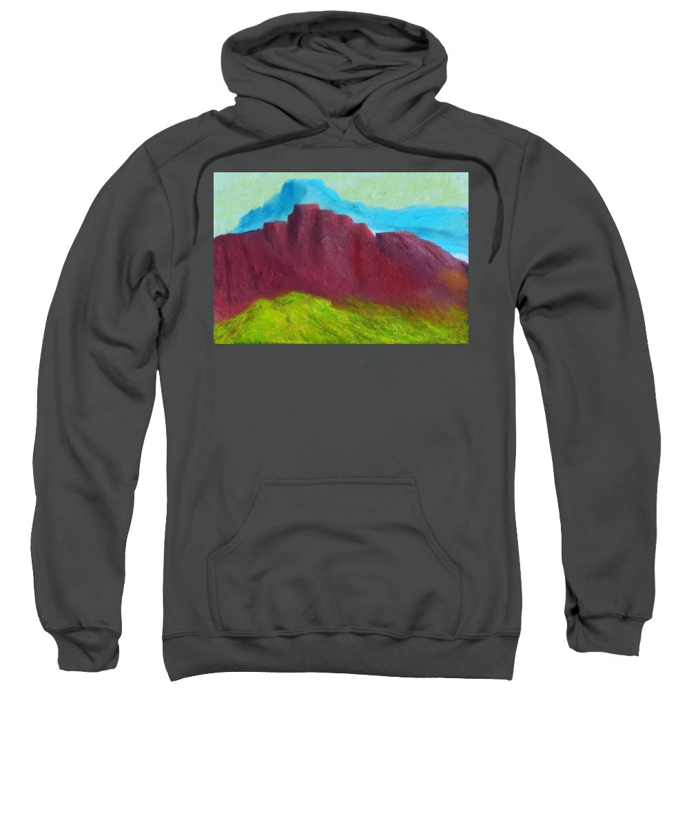 Digital Painting Sweatshirt featuring the digital art Red Hills Revisited. by David Lane