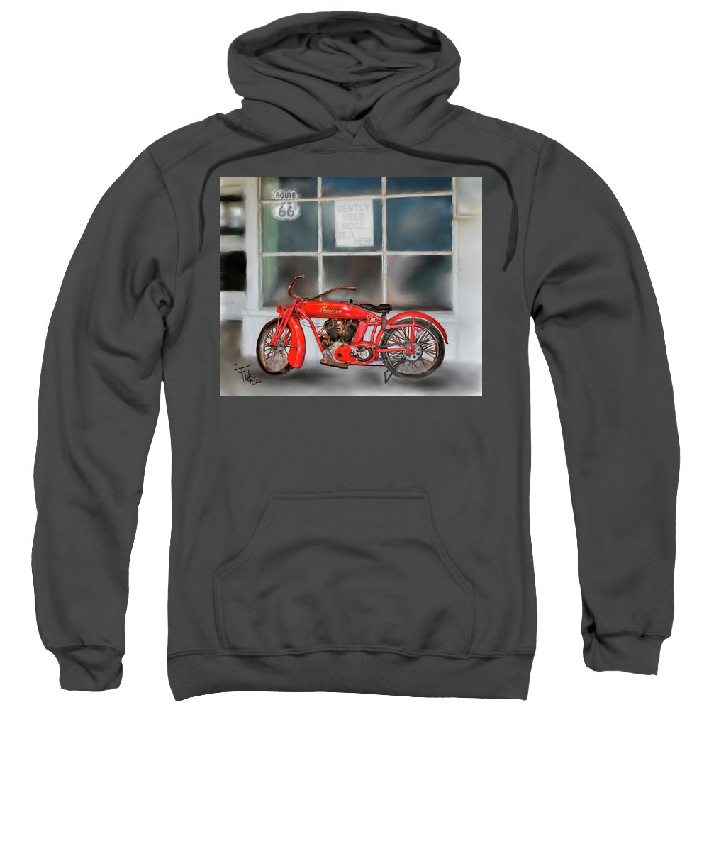 Motorcycles Sweatshirt featuring the painting Red Hot Tail Gunner by Colleen Taylor